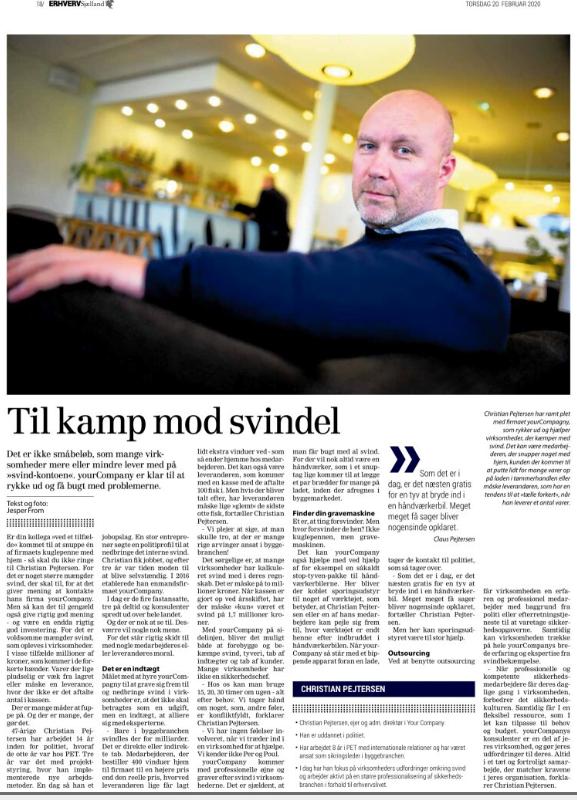 yourCompany - Bekæmp svind og svindel - Artikel - ErhvervSjælland - Uge 08 2020